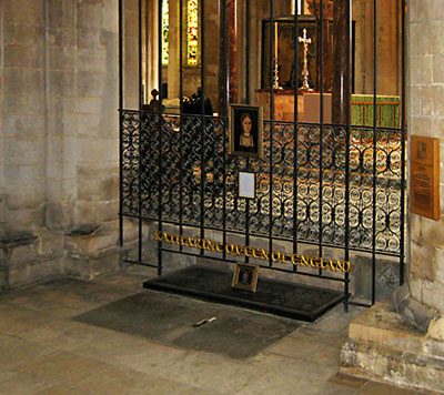 Katherine of Aragon's tomb, Peterborough Cathedral.