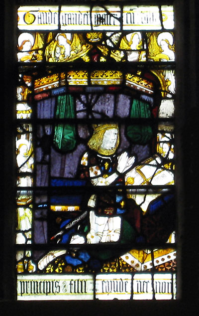 Prince Arthur, Katherine's first husband, from a stained glass window at Malvern Priory, Worcestershire.